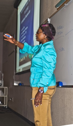 "History professor Mathilde Mukantabana presents a lesson on the process of Reconstruction after the Civil War. Mukantabana believes that students are an extension of her and that ""if they are willing to work, they are willing to engage, then they can do well."""