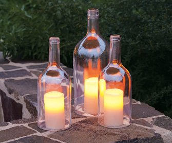 Home-made hurricane lamps on Pinterest that I pinned to my things in jars board. I dont know which would be more fun: enjoying their glow, making the lamps or drinking the wine.