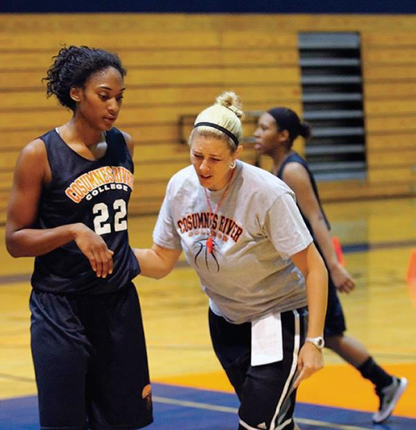 CRC head coach Coral Sage directs freshman forward Empres Barner in practice on Oct. 22.