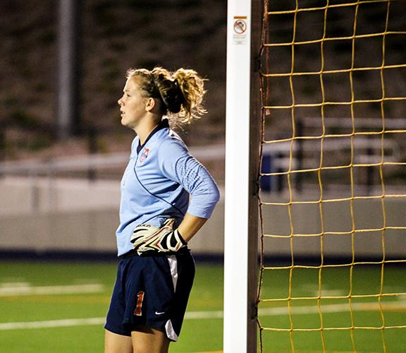 Cosumnes River College freshman goalkeeper Anna Brown looks on as her team battles Sierra College under the lights of CRC Stadium on Oct. 11. Brown, who had five saves in the 1-0 loss, led her team to the third round of the state playoffs.