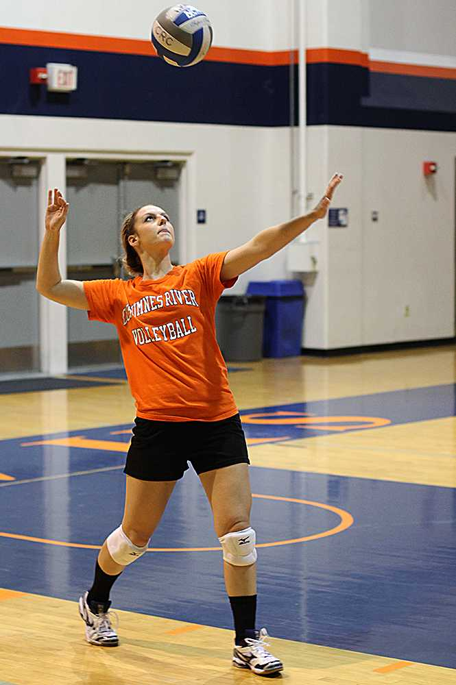 Sophomore+setter+and+opposite+hitter+Laura+Villano+practices+serving+in+a+team+practice+scrimmage+on+Oct.+1.+Villano+plays+for+both+the+volleyball+and+softball+teams+at+Cosumnes+River+College.