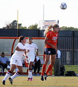 Freshman midfielder Kylie Forbes heads a ball in Cosumnes River College's game against Sacramento City College on Oct. 25.