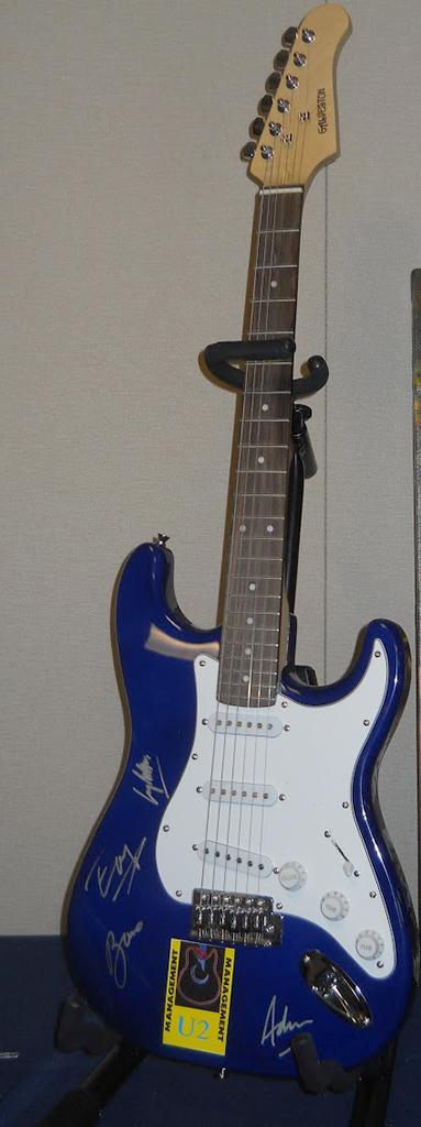 The U2 guitar that was auctioned off at the Taste and Toast event on Oct. 5.