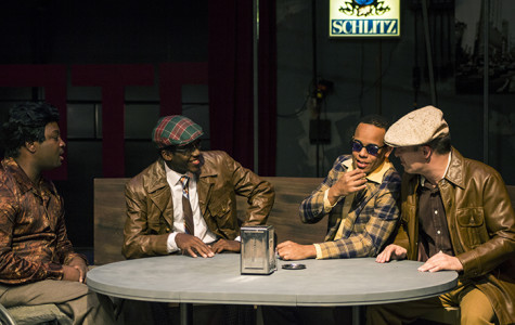 David Haskins, Alexander Stallings, Edward A. Woodward and Dante Scott Raposa portray the characters of Al, Gene, Jonesy and Ziggy, respectively, during a practice scene before the dress rehearsal of the play
