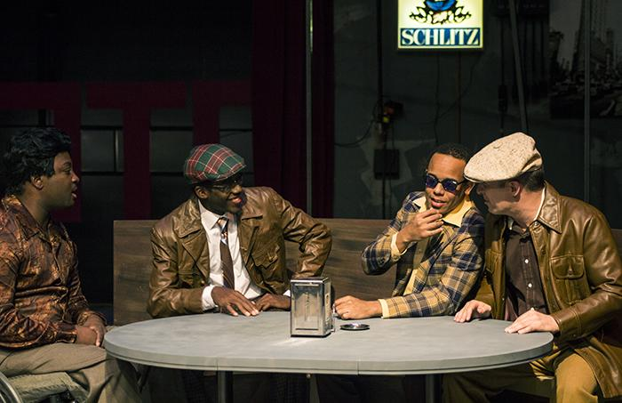 David Haskins, Alexander Stallings, Edward A. Woodward and Dante Scott Raposa portray the characters of Al, Gene, Jonesy and Ziggy, respectively, during a practice scene before the dress rehearsal of the play Side Man on Nov. 7.