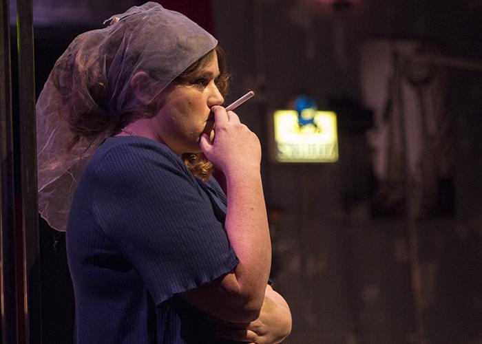 """Cate Hatfield, 23-year-old theater arts major, portrayed the character of Terry during the Nov. 8 dress rehearsal of the play """"Side Man."""" Terry is the mother of the narrator Clifford (Ryan King) and the story heavily revolves around her character's relationship with Gene (Alexander Stallings)."""