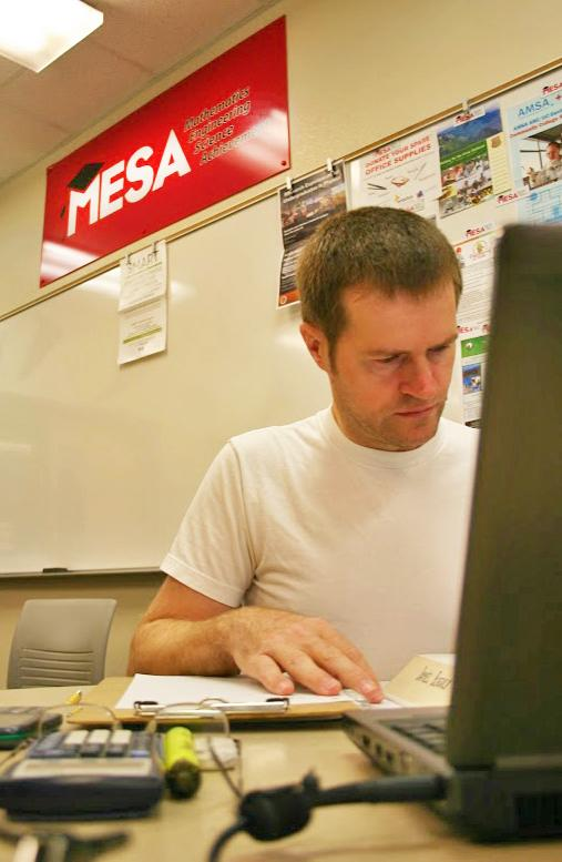 William Sutherland, a 26-year-old engineering major studies in the MESA lab room located in the science building on Nov. 6.