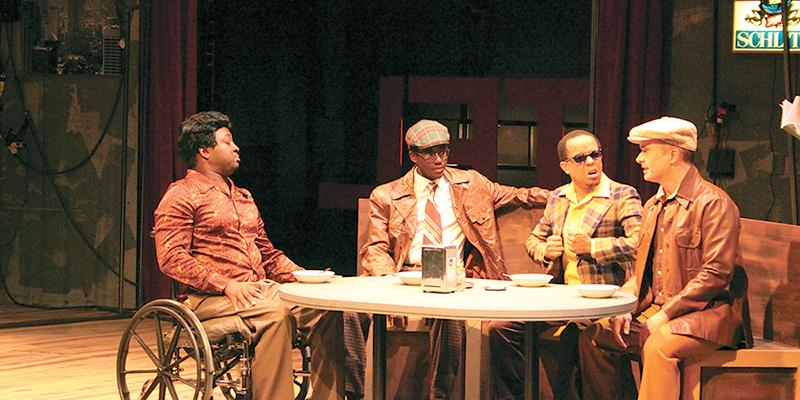 (From left to right) Al, Gene, Jonesy and Ziggy share a meal at Melody Lounge during dress rehearsal for the production of Sideman on Nov. 7.