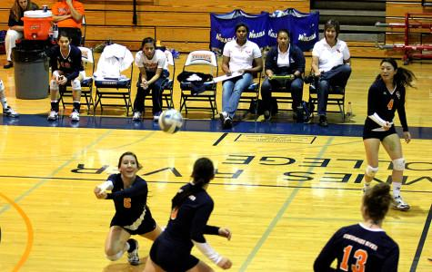 Freshman libero Samantha DaVeggio dives and saves a ball from hitting the floor in CRC's match against Modesto on Nov. 20.