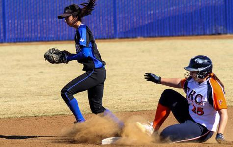 Then-freshman pitcher Jessica Venturelli slides safely on to second base in the Feb. 9 game against Solano College. Venturelli is one of the few players from the 2013 season expected to return for 2014.