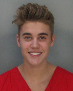 Justin Bieber's mug shot after being arrested for DUI.
