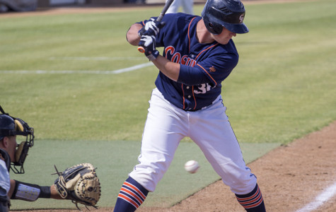 Cosumnes River College freshman first baseman Nathan Ahlers strikes out against San Joaquin Delta College in the Hawks' home game on April 21. The Hawks went on to win the game 1-0 and are now tied for first place in the Big 8 Conference.