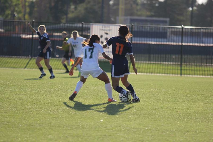 CRC sophomore forward Selina Barbosa and Evergreen Valley College sophomore Graciela Belmontes battle for control of the ball.