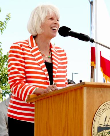 In her tenure as president, Deborah Travis has overseen many of the new construction projects on campus and has spoken at the dedications including for the Elk Grove Center.