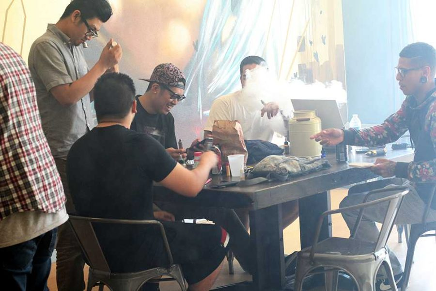 Daily customers (from left to right) Alex Berania, Christopher Vo, Matthew Calagui, Edward Keamany, Alex Blair hang out and vape at the Vapebox. Located in the College Square shopping centre at Bruceville Road, adjacent to Cosumnes River College, the Vapebox has been open for a year.
