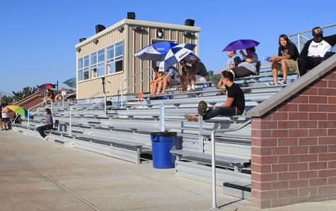 Small crowds are quite common at soccer games this season, including the slightly smaller crowd that attended this women's soccer match against Sac City on Sept. 30. Extra bleachers were added this season to provide more seating for the fans but so far have gone mostly unused at this point in the season.