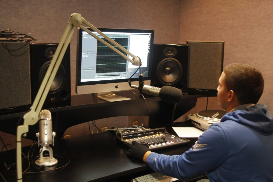A student from the Cosumnes River College River Radio station edits content for an upcoming broadcast as part of the hands-on experience the program offers to students interested in the field of radio broadcasting.