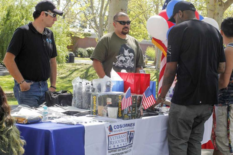 Members+of+the+Cosumnes+River+College+Veteran%27s+Resource+Center+had+a+table+in+the+quad+to+bring+awareness+of+the+services+they+offer+to+veterans.+Students+that+attended+the+fair+voted+for+their+favorite+club+or+group%2C+and+the+VRC+received+the+most+votes+to+win+the+2015+Spirit+Award+and+a+%24250+check+on+March+25.+