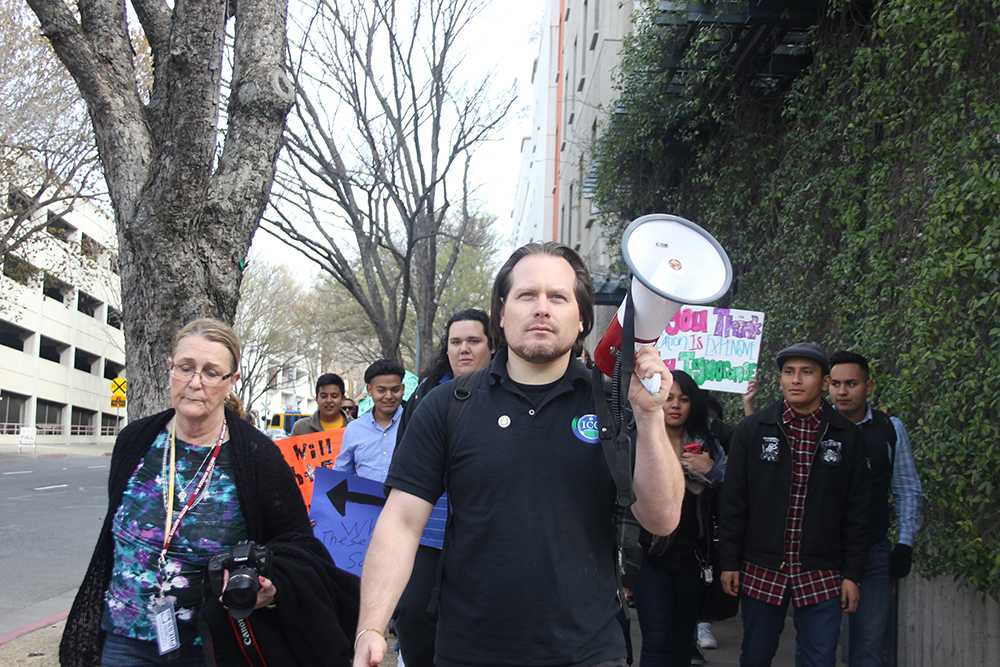 Keith Montes leads students as they march for education during Sacramento's annual March in March on March 2, 2015.