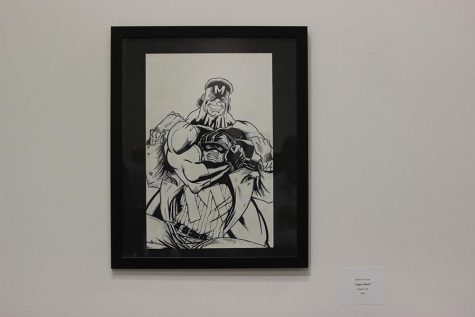 """Many of Love's pieces are on display in the gallery until April 24, including the pictured piece titled """"Upper Hand"""" from 2008."""