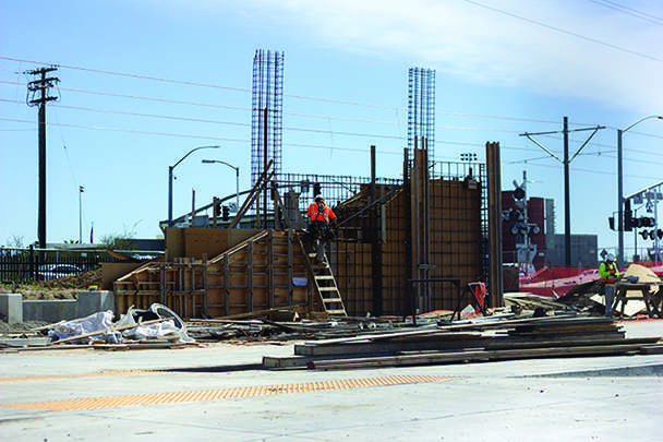 Construction continues on the Blue Line lightrail near CRC's east entrance. Students can expect to see the finished product by September.