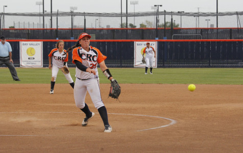 Hawks sophomore pitcher Amanda Horbasch playing at their doubleheader against American River College on March 20.
