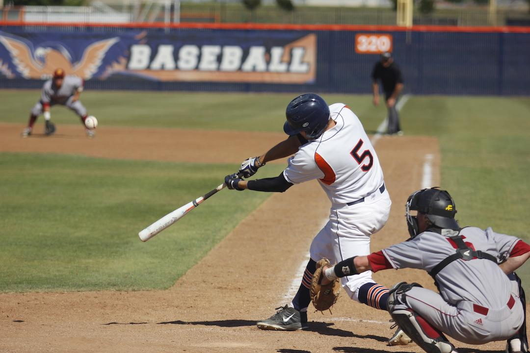 Freshman outfielder Robert Daugherty playing at the Hawks home game against Sacramento City College on April 16.