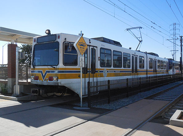 New Blue Line light rail car sits at the Cosumnes River College station. The new extension and station of the light rail is now open for service.