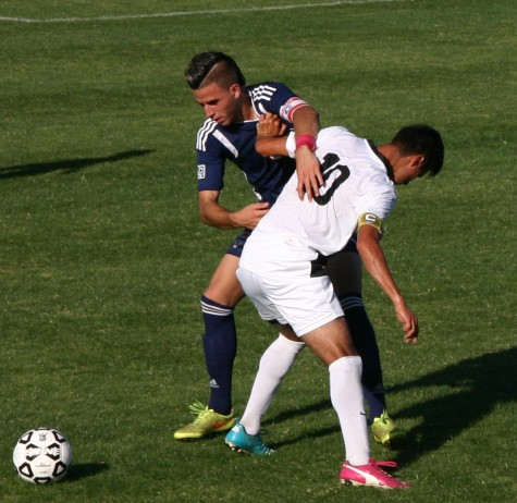 Defender Jose Torres fights for the ball on Oct.9 against Taft College
