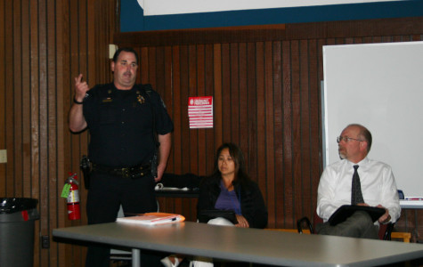 Cosumnes River College faculty, staff and Los Rios Police officials discuss recent crimes on campus on Nov. 12.