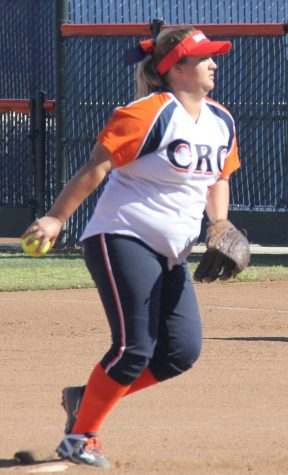 Hawks sophomore pitcher Aimee Hutchinson in the wind up against Modesto College on March 15
