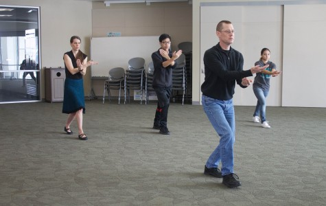 Philosophy professor Rick Schubert guides students and faculty through a 50 minute tai chi session on March 2.