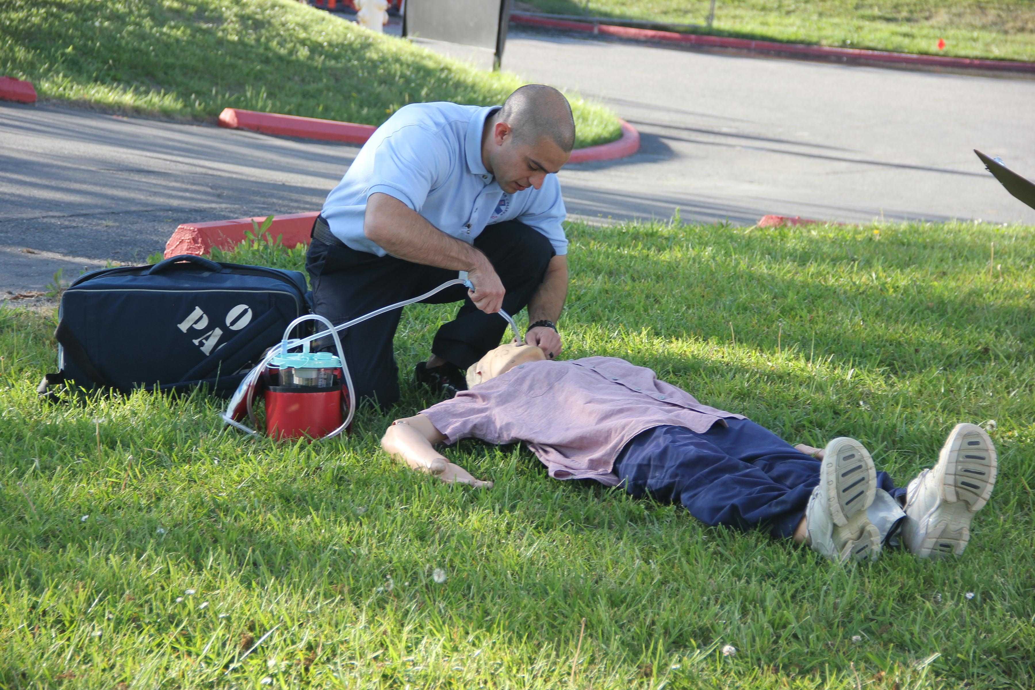 EMT student practices skills  that they will need in the field. The EMT program gives students a chance to practice real situations so they are confident in their career field.