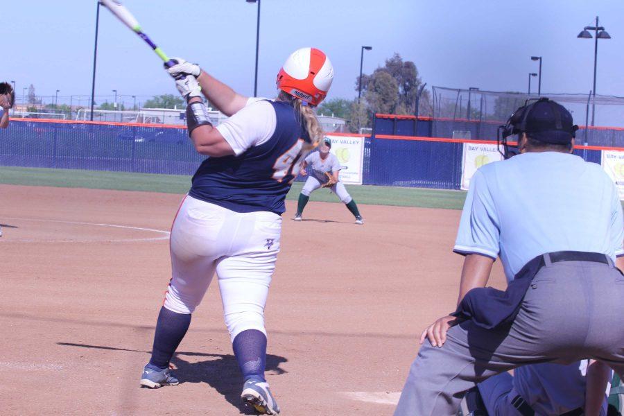 Sophomore first baseman Rachel Hooper hits a walk-off single into center field.