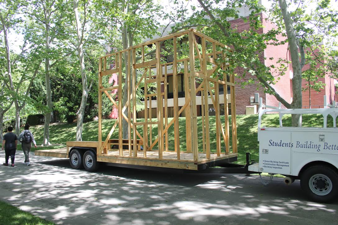 CRC will be hosting the tiny house competition in October. Construction and architecture students have already began putting up the framework.