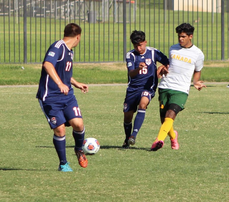 Hawks freshman forward Efrain Serrano Jr. positions himself for the ball.