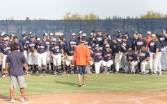 Head coach Tony Bloomfield speaks to Cosumnes River College baseball players and alumni following the current team's 2-0 victory in a friendly scrimmage against alumni of the CRC baseball program last fall.