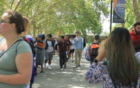 Students learn about the different departments and resources available on campus at the New Student Welcome on Aug. 15.