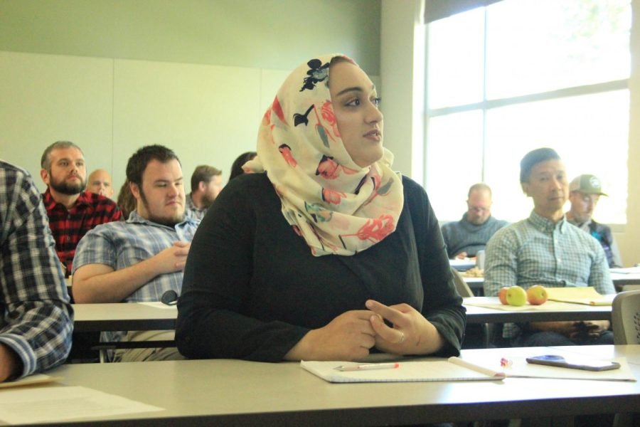 Student Body President Halimeh Edais discusses the proposal of a meditation room for students during an Academic Senate meeting on Friday.