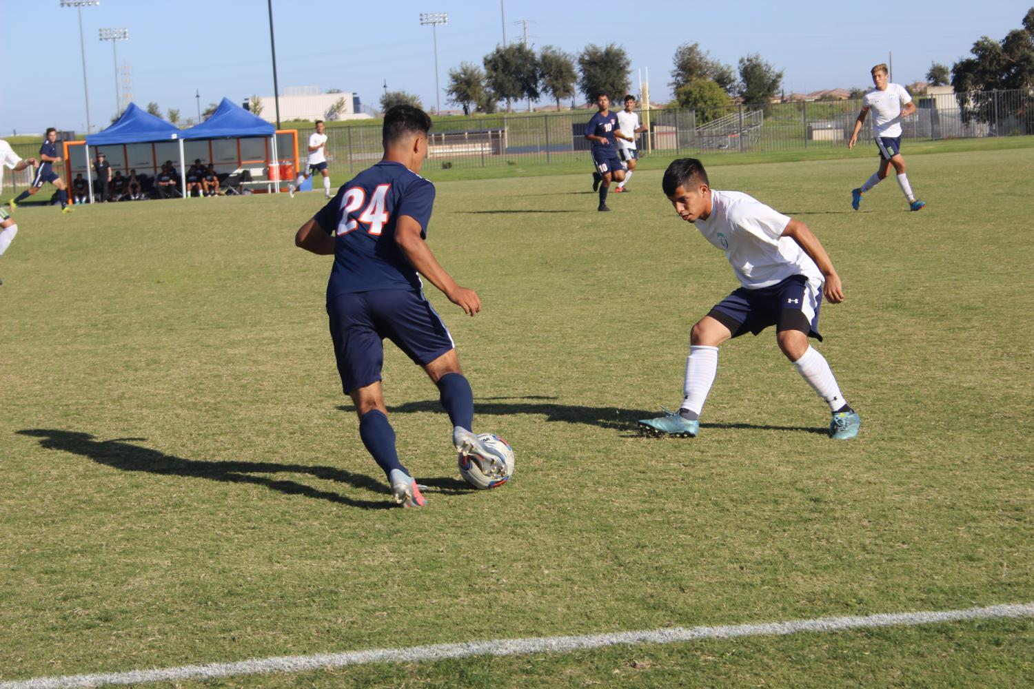 Freshman forward Francisco Comparan faces off one-on-one in Friday's game versus Clovis.