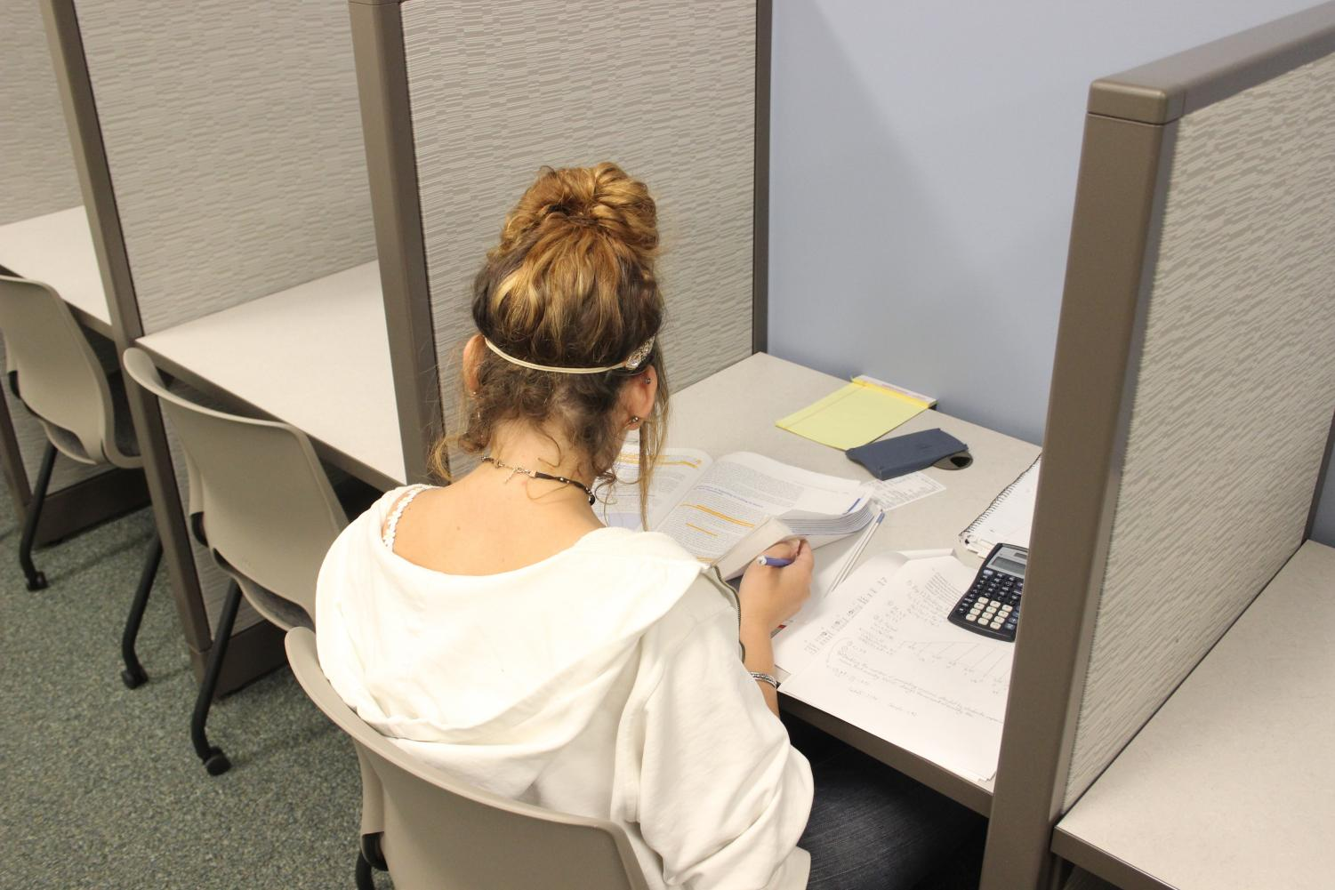 A Disability Support Programs and Services student takes a test in a testing accommodation room in the DSPS office on Oct. 18.