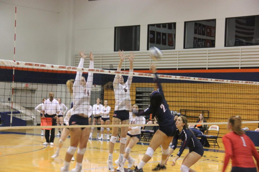 Outside+Hitter+Rebakkah+McLaughlin+%28left%29+and+Opposite+Jade+Griley+block+against+the+Beavers+on+Nov.+3.