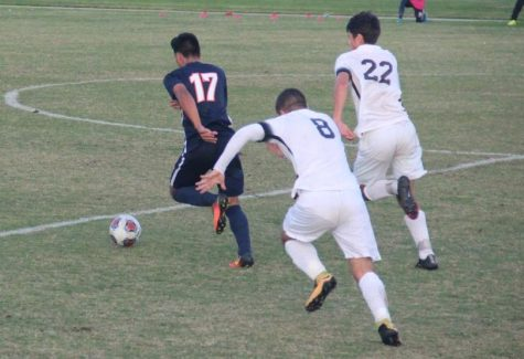Sophomore midfielder and forward Enzo Leon pushes to create a drive in the Hawks