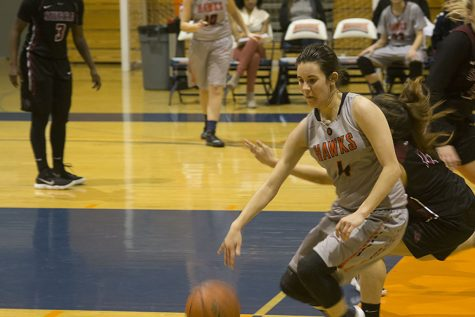 Guard Brookelyn Larkin trying to get pass the defender in a home loss to Sierra College