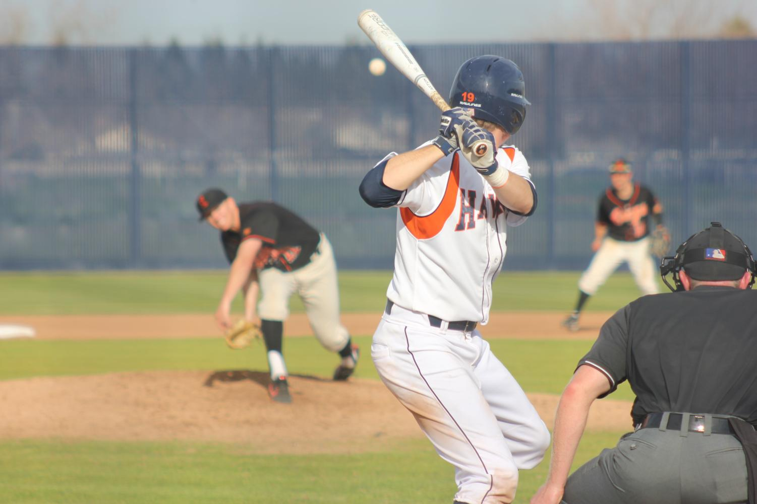Sophomore outfielder Jared Alameida at bat against Lassen Community College on Feb.9