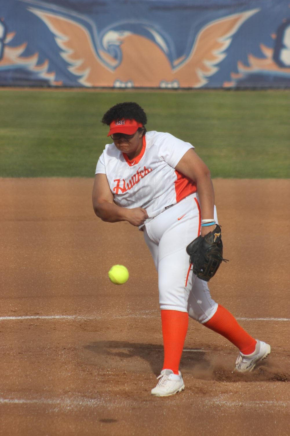 Freshman pitcher Gabrielle Montaie on the mound in a win against Sac City on Feb. 24.