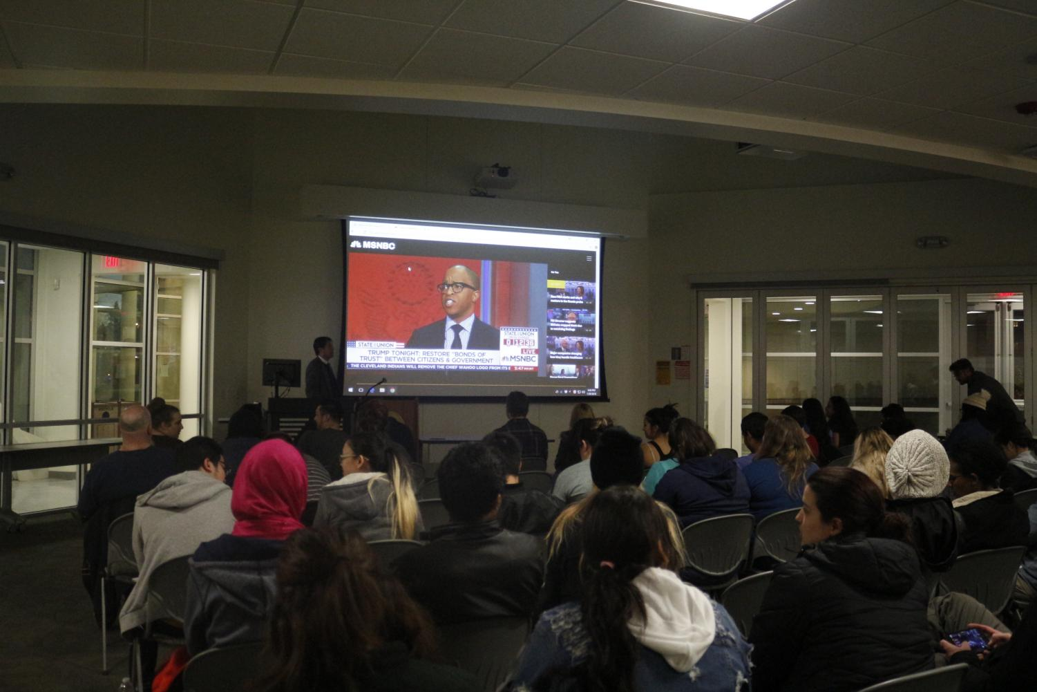 Students view the State of the Union speech in WIN-150 on Jan. 30. Following with a question-and-answer forum after speech.