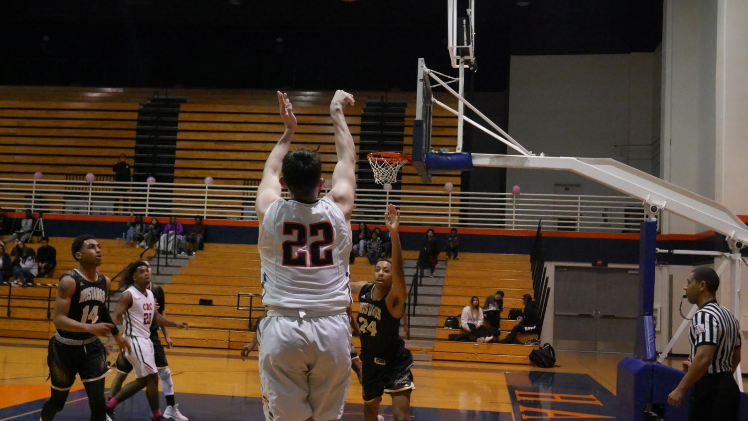 Gor Mikayelyan shooting a three in a 57-45 loss to Delta College