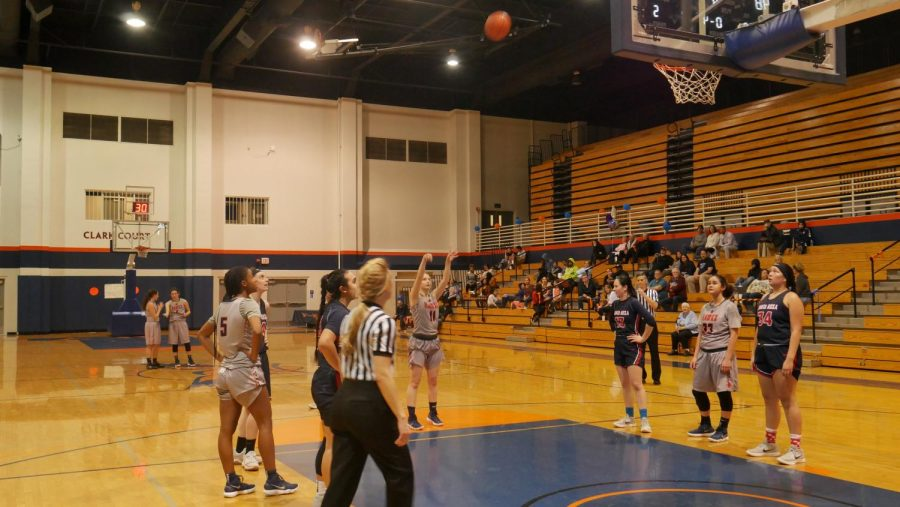 Sophomore guard Trina Shaner at the free throw line in a loss against Santa Rosa Junior College Feb. 9