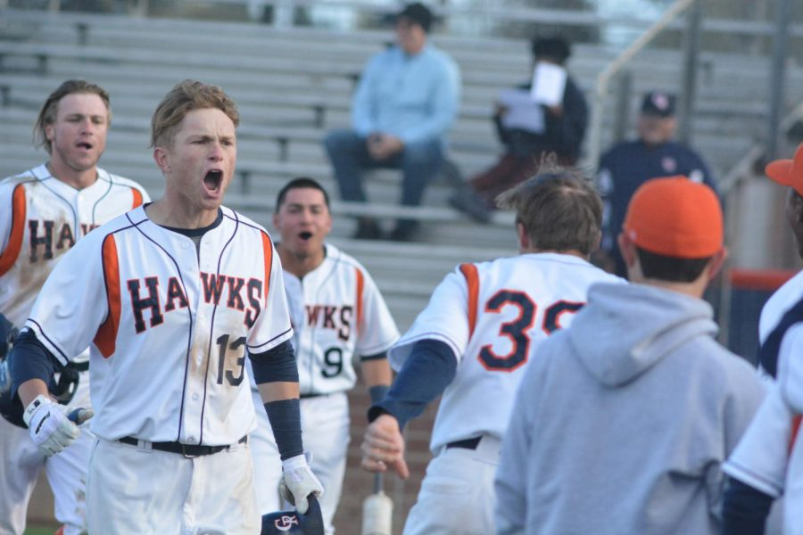 Cosumnes River College Hawks after a 6-5 comeback win over Folsom Lake College on March 14